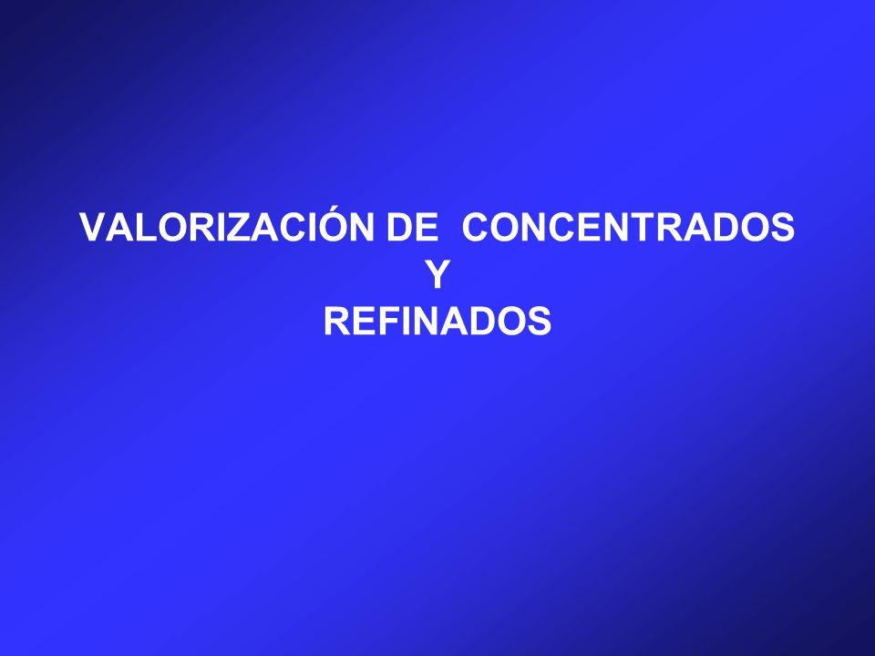 VALORIZACIÓN DE CONCENTRADOS Y REFINADOS