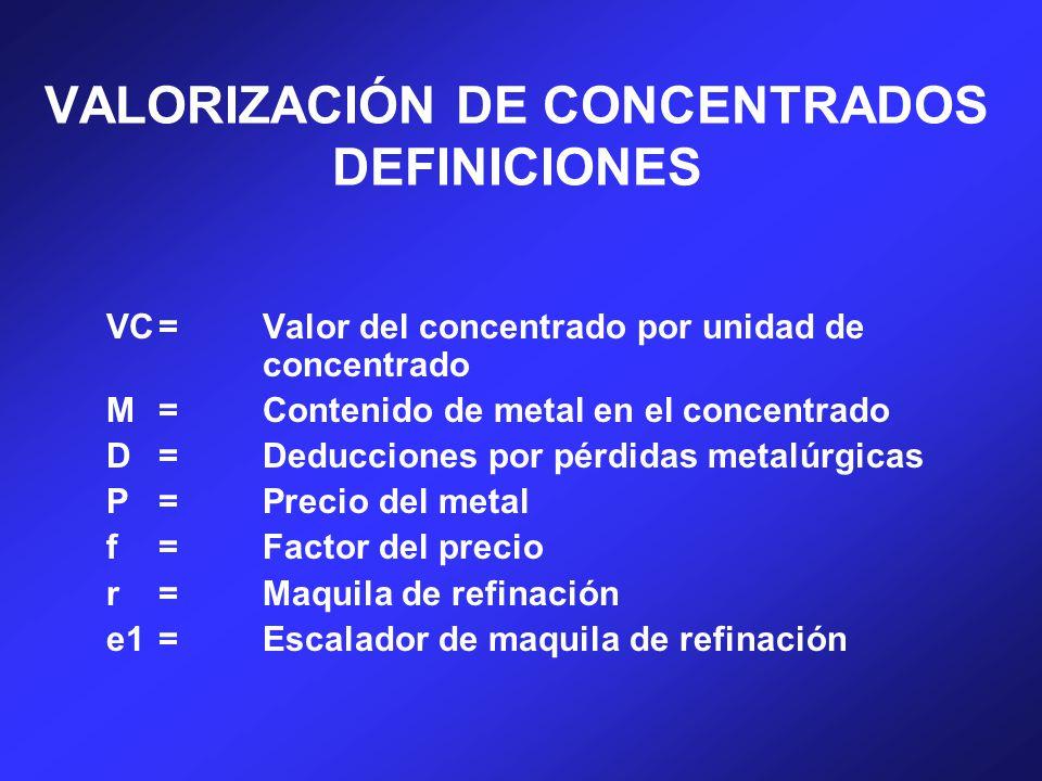 VALORIZACIÓN DE CONCENTRADOS DEFINICIONES