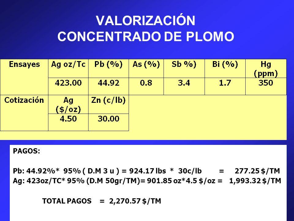 VALORIZACIÓN CONCENTRADO DE PLOMO