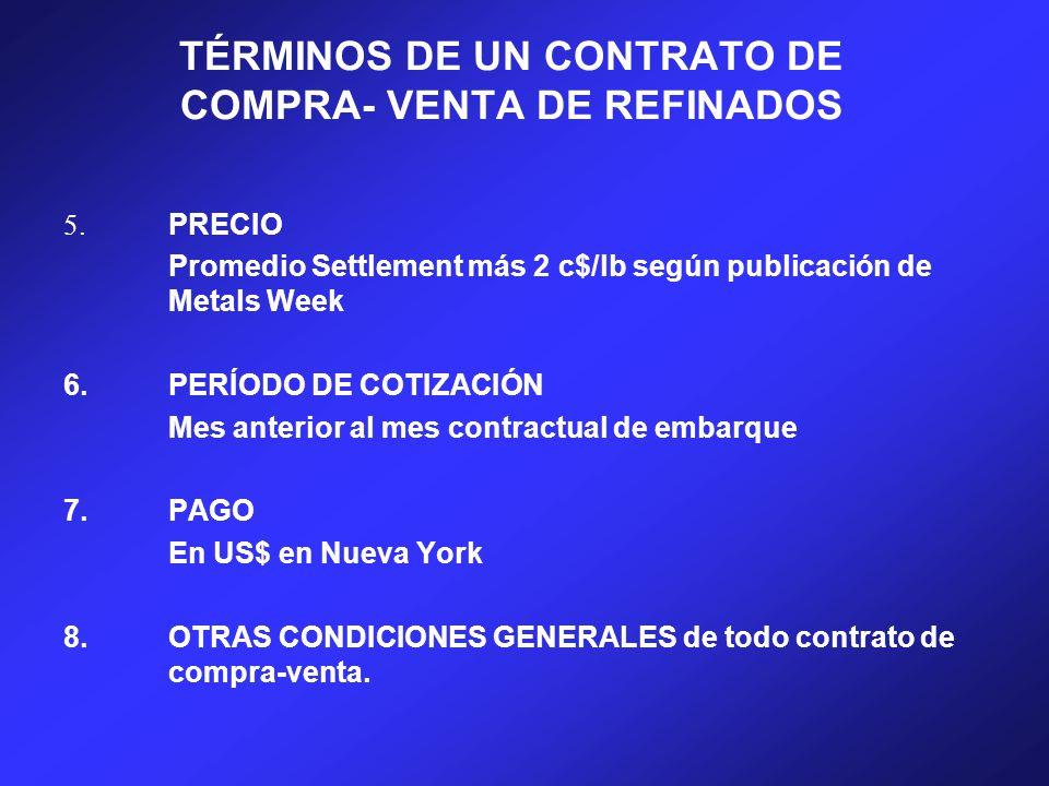 TÉRMINOS DE UN CONTRATO DE COMPRA- VENTA DE REFINADOS