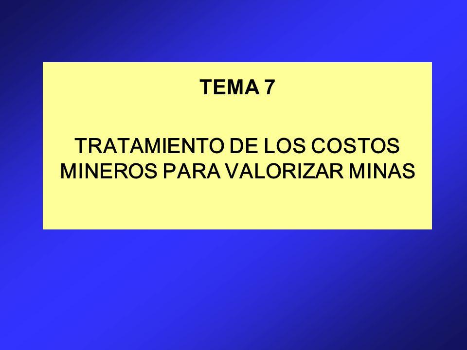 TEMA 7 TRATAMIENTO DE LOS COSTOS MINEROS PARA VALORIZAR MINAS