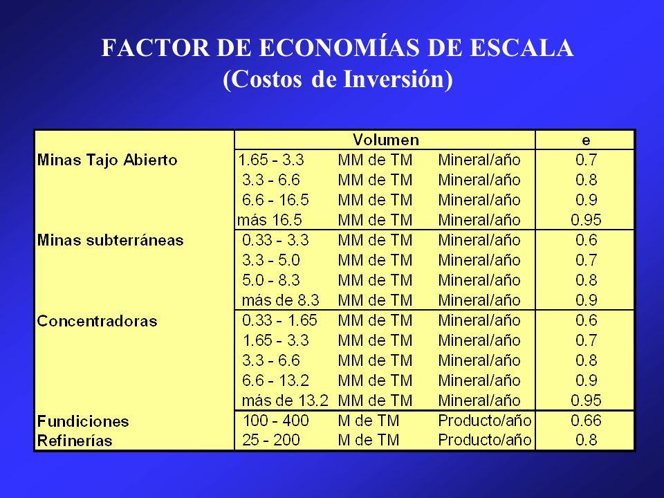 FACTOR DE ECONOMÍAS DE ESCALA (Costos de Inversión)