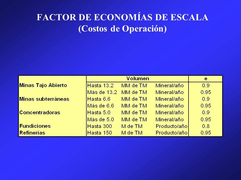 FACTOR DE ECONOMÍAS DE ESCALA (Costos de Operación)