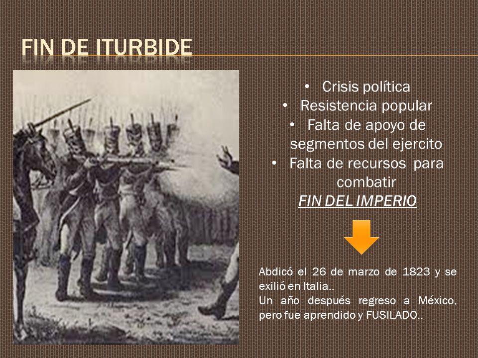 FIN DE ITURBIDE Crisis política Resistencia popular