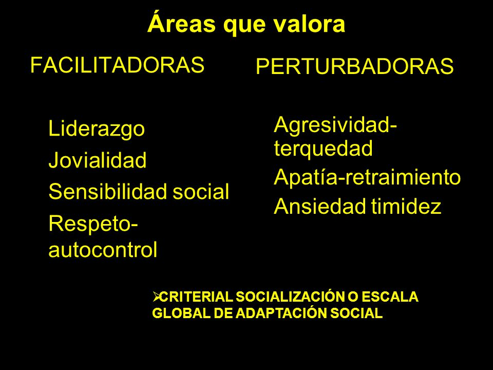 Áreas que valora FACILITADORAS PERTURBADORAS Liderazgo