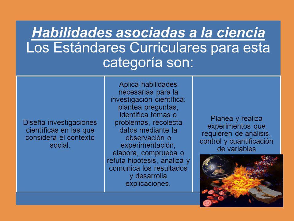 Habilidades asociadas a la ciencia Los Estándares Curriculares para esta categoría son: