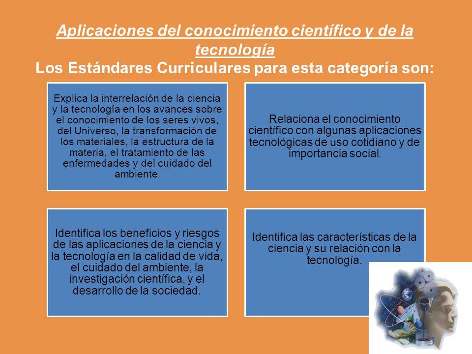 Aplicaciones del conocimiento científico y de la tecnología Los Estándares Curriculares para esta categoría son: