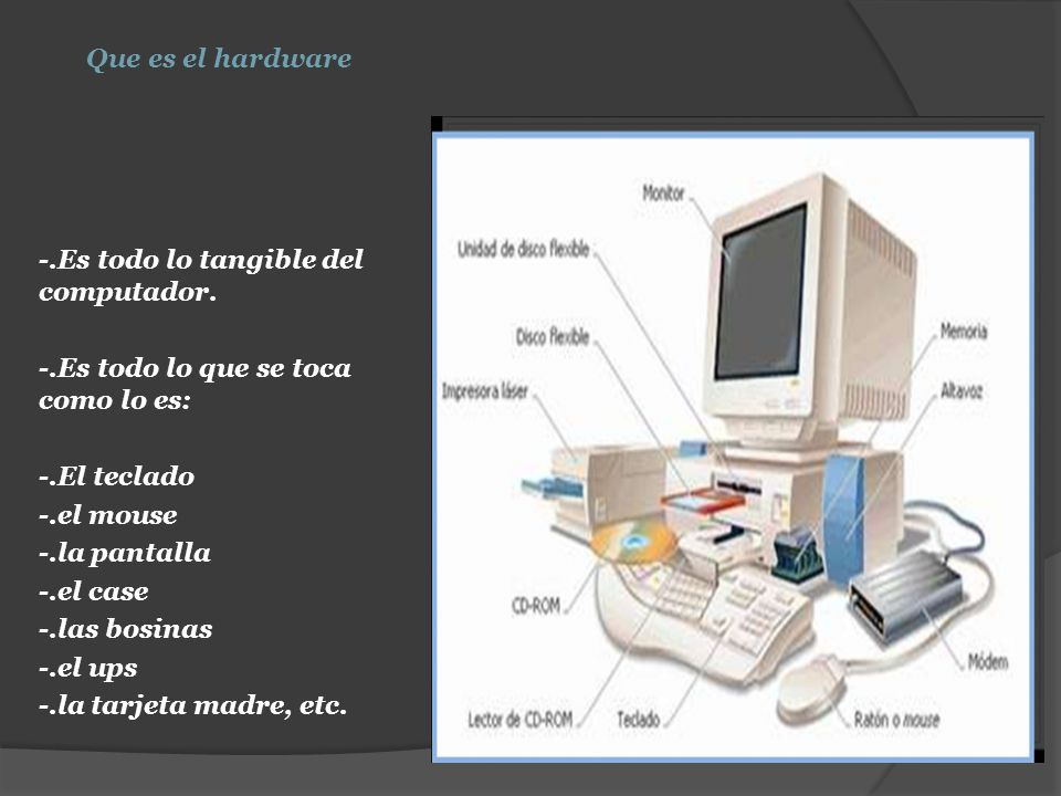Que es el hardware es todo lo tangible del computador for Que significa hardware