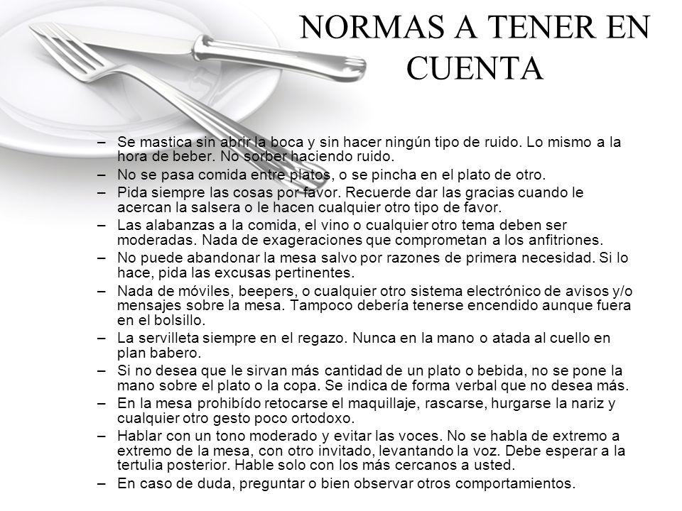 NORMAS A TENER EN CUENTA