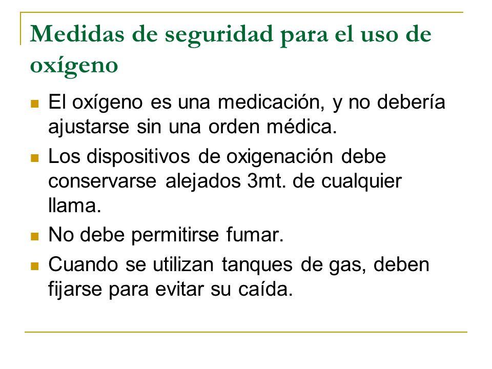 Medidas de seguridad para el uso de oxígeno