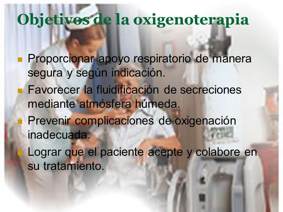 Objetivos de la oxigenoterapia