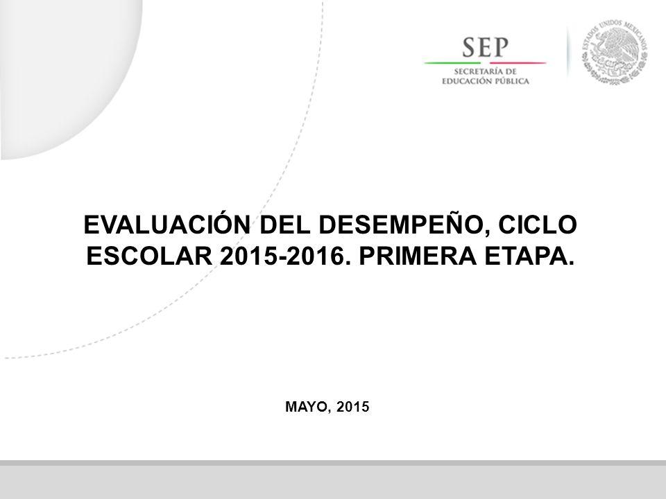 EVALUACIÓN DEL DESEMPEÑO, CICLO ESCOLAR 2015-2016. PRIMERA ETAPA.
