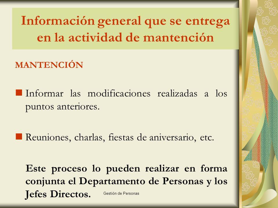 Información general que se entrega en la actividad de mantención