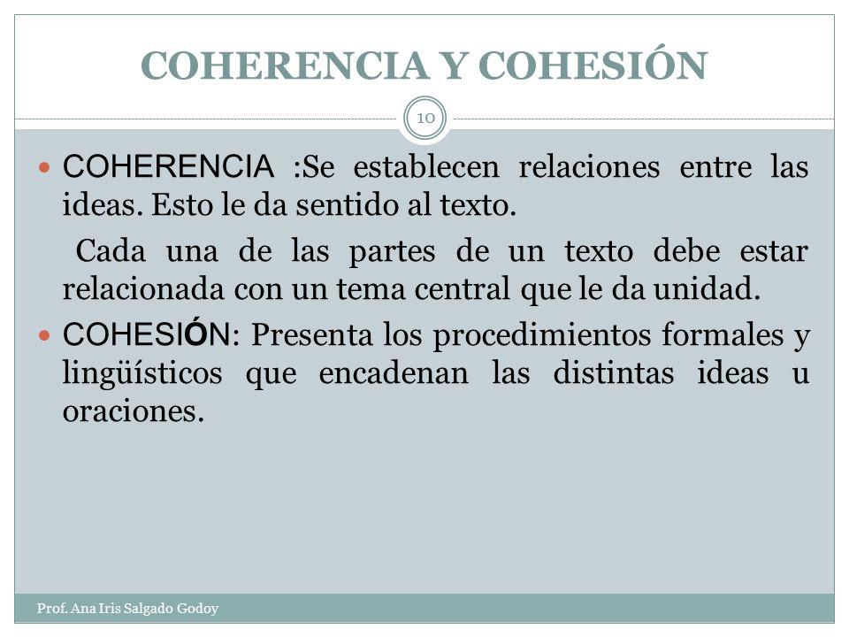 COHERENCIA Y COHESIÓN COHERENCIA :Se establecen relaciones entre las ideas. Esto le da sentido al texto.