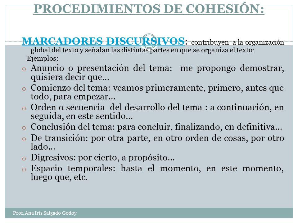 PROCEDIMIENTOS DE COHESIÓN: