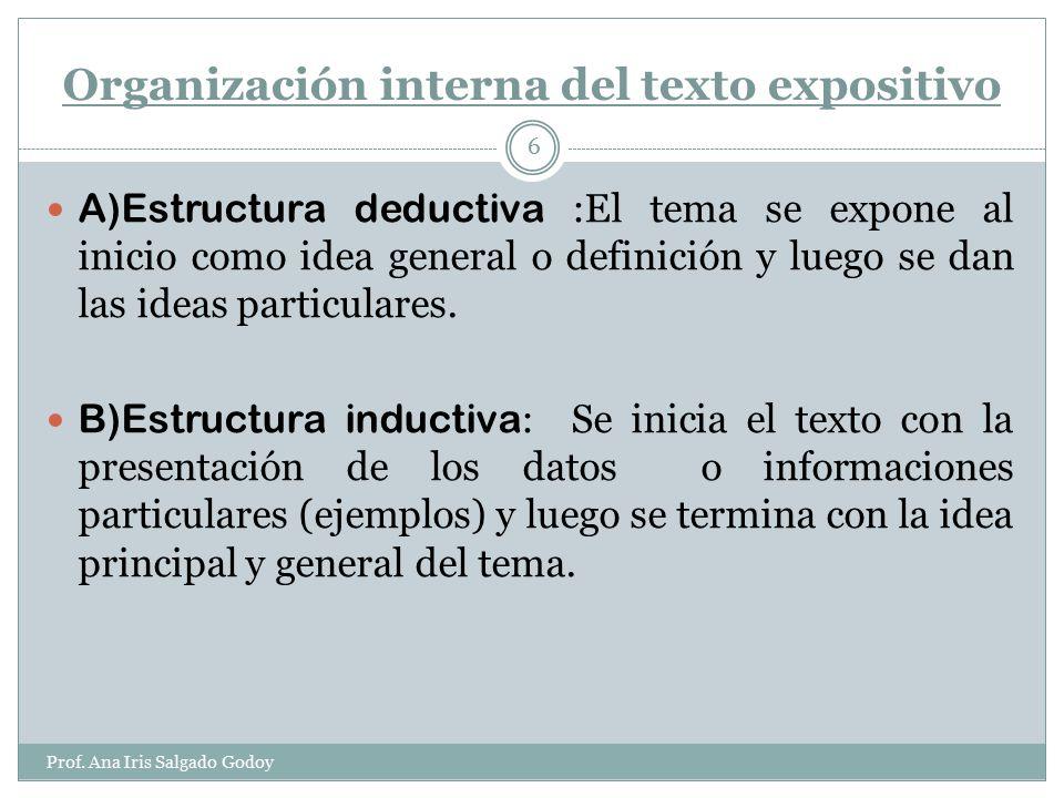 Organización interna del texto expositivo
