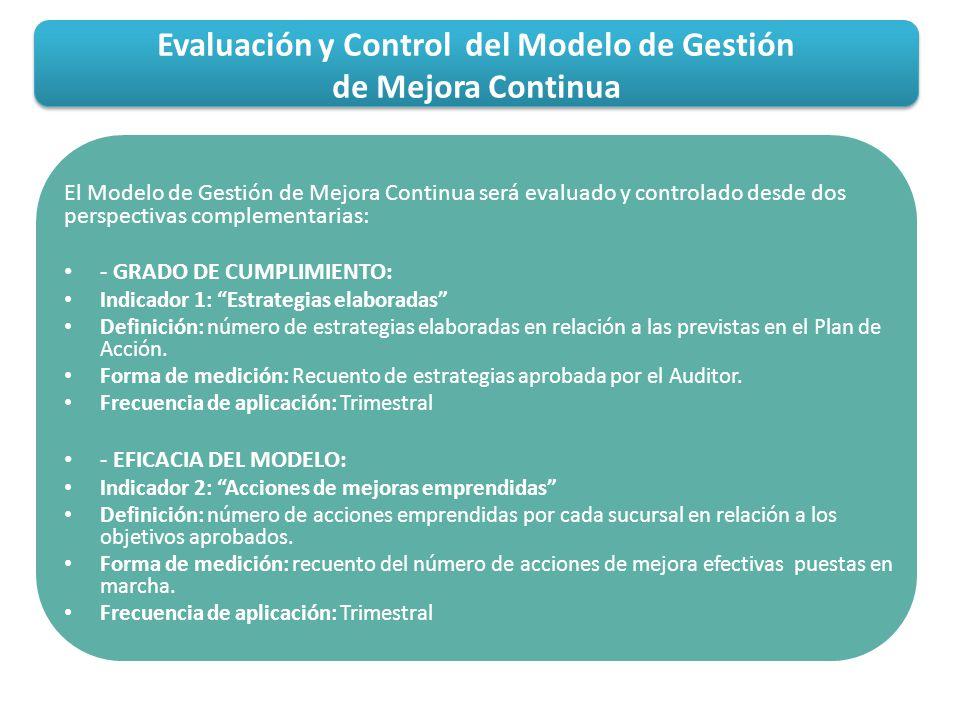Evaluación y Control del Modelo de Gestión de Mejora Continua
