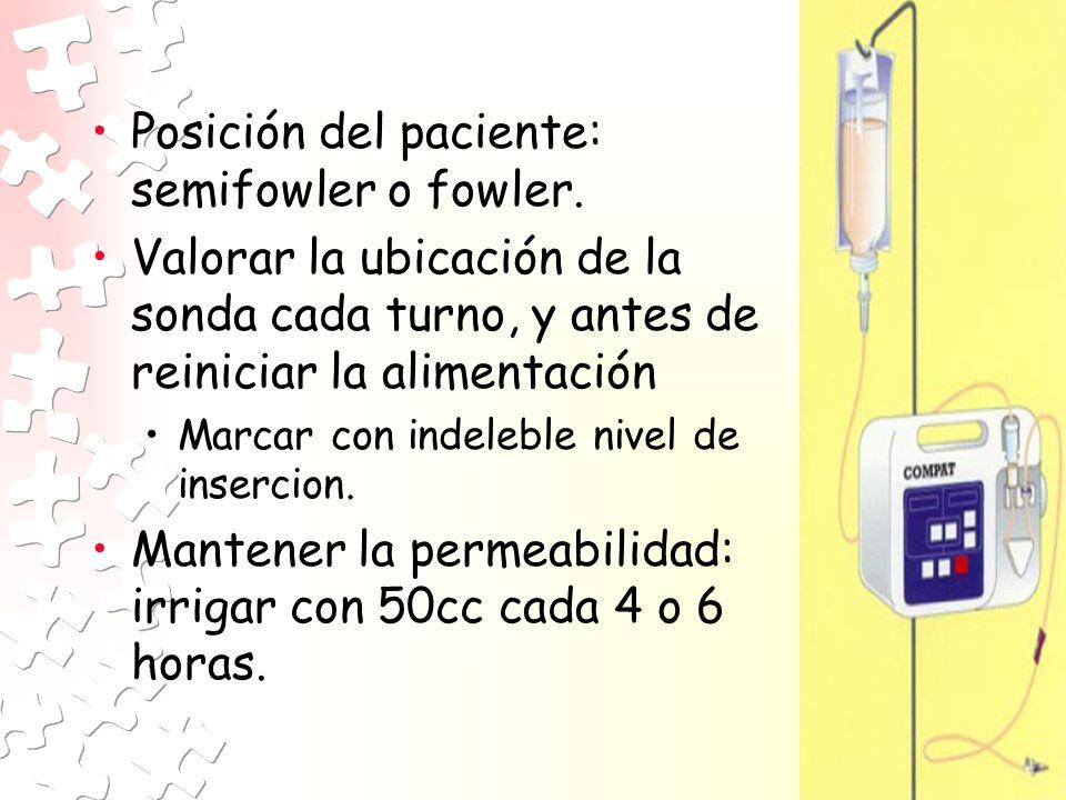 Posición del paciente: semifowler o fowler.