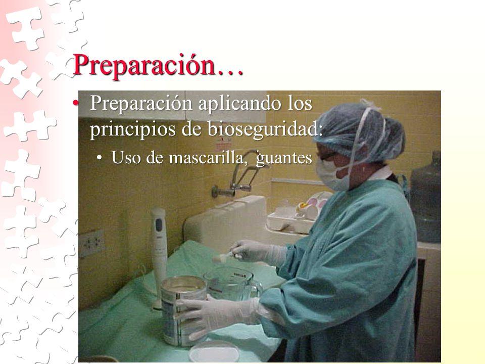 Preparación… Preparación aplicando los principios de bioseguridad:
