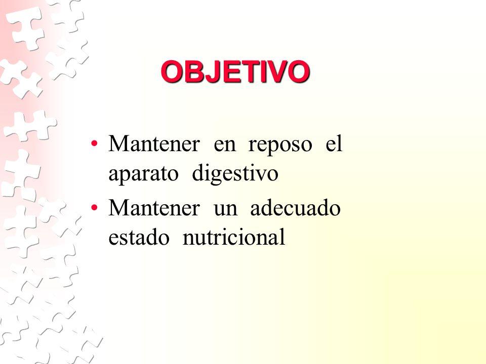 OBJETIVO Mantener en reposo el aparato digestivo