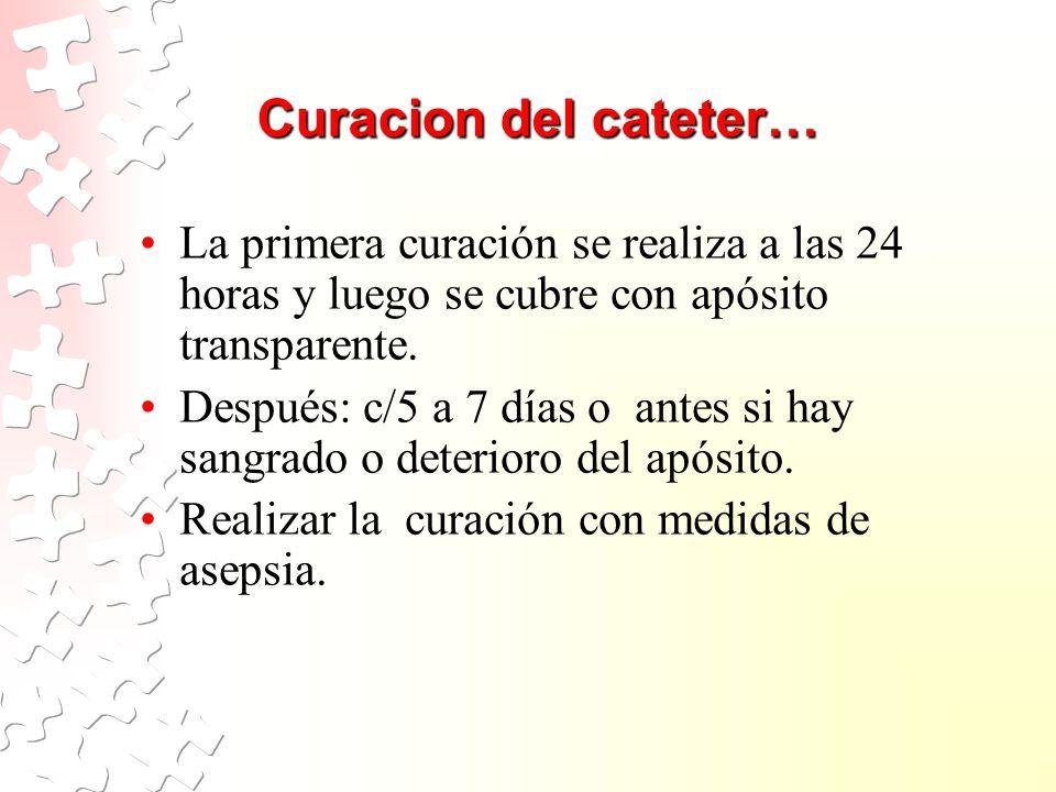 Curacion del cateter… La primera curación se realiza a las 24 horas y luego se cubre con apósito transparente.