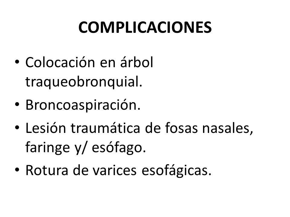 COMPLICACIONES Colocación en árbol traqueobronquial. Broncoaspiración.