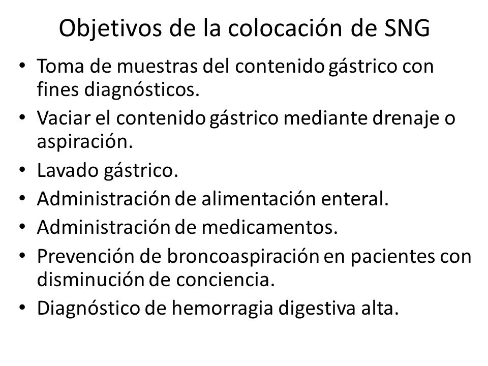Objetivos de la colocación de SNG