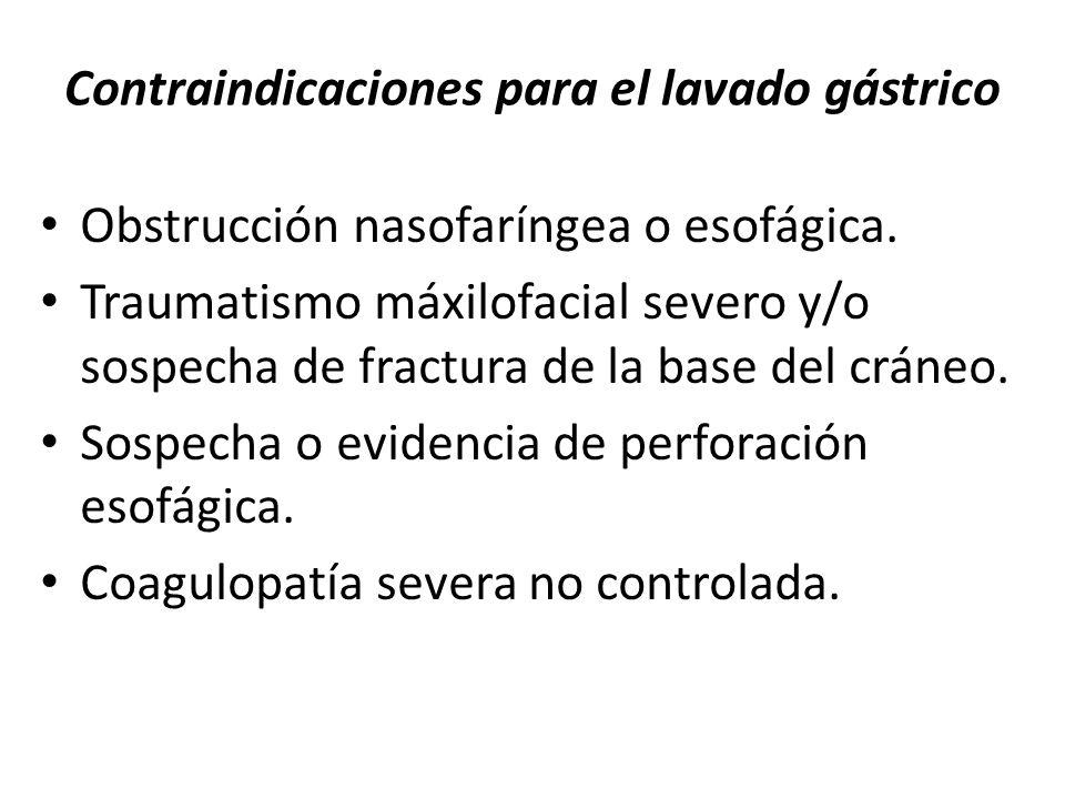 Contraindicaciones para el lavado gástrico