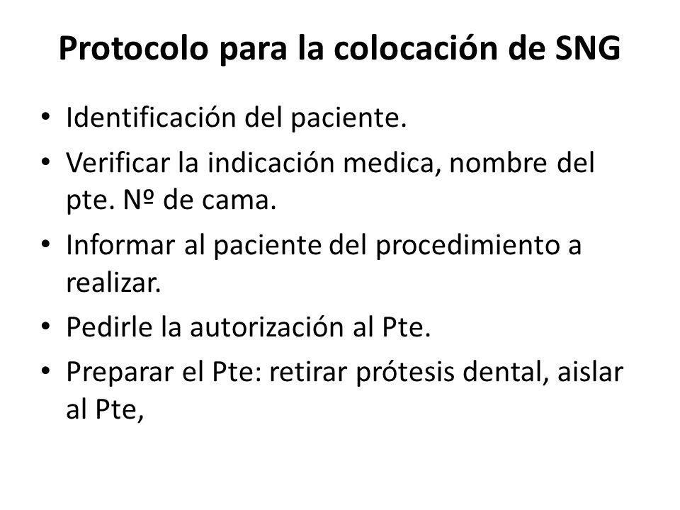 Protocolo para la colocación de SNG