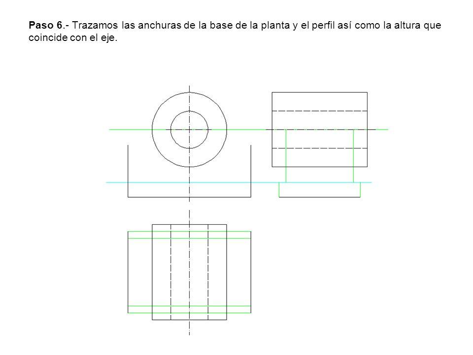 Paso 6.- Trazamos las anchuras de la base de la planta y el perfil así como la altura que coincide con el eje.