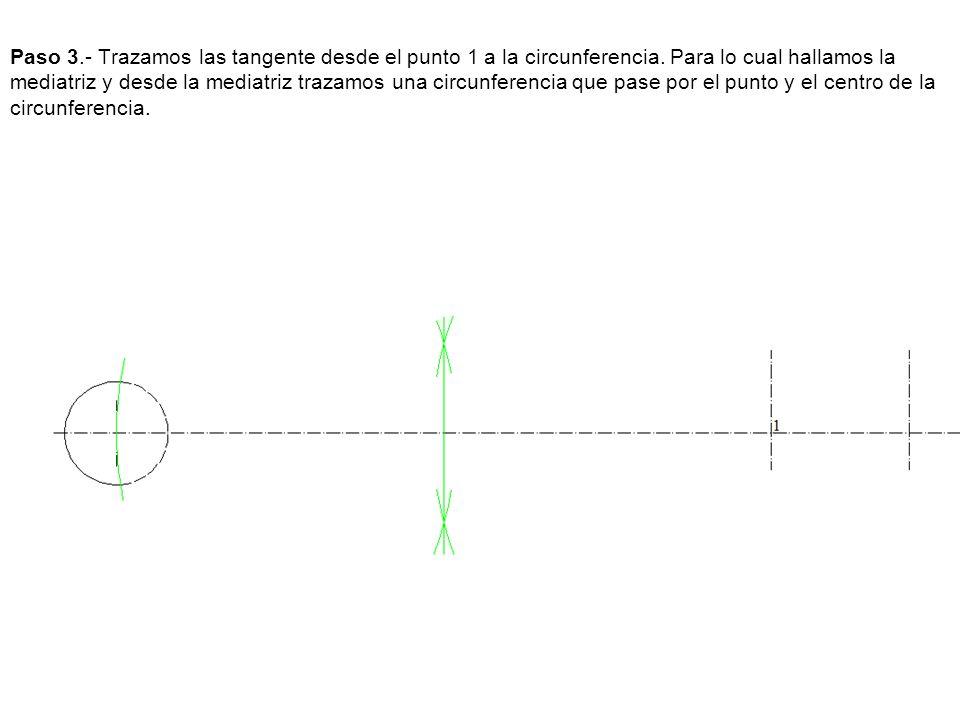 Paso 3. - Trazamos las tangente desde el punto 1 a la circunferencia