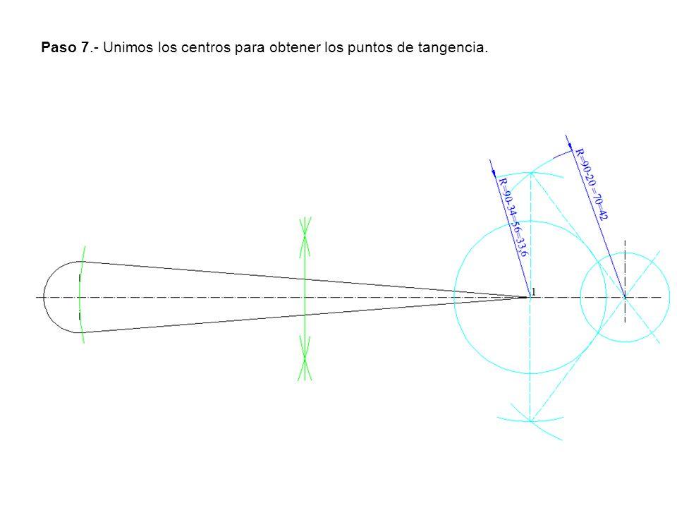 Paso 7.- Unimos los centros para obtener los puntos de tangencia.