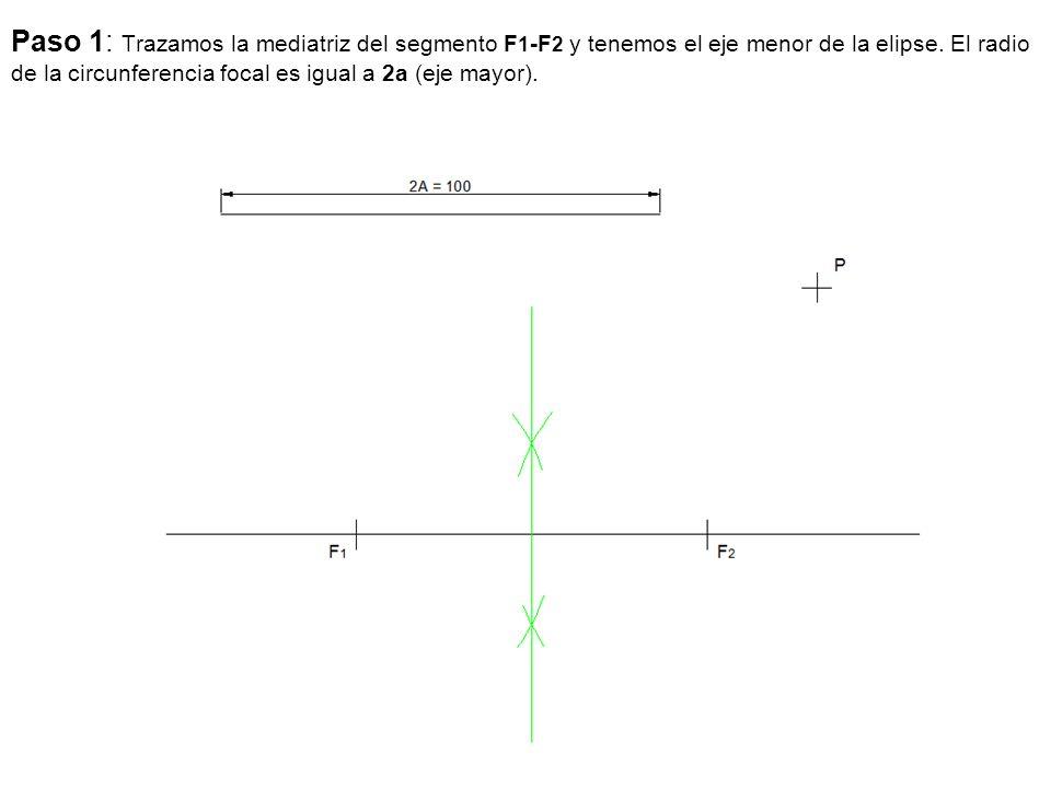 Paso 1: Trazamos la mediatriz del segmento F1-F2 y tenemos el eje menor de la elipse.