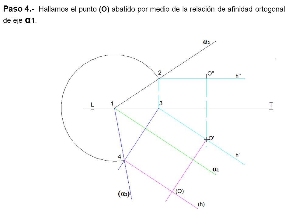 Paso 4.- Hallamos el punto (O) abatido por medio de la relación de afinidad ortogonal de eje α1.