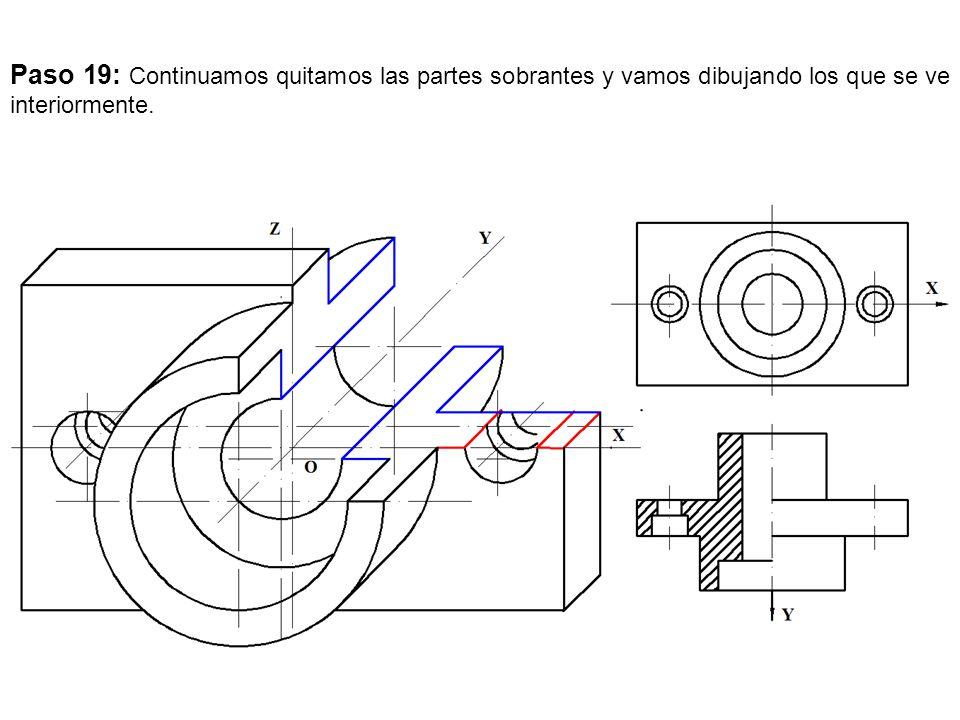 Paso 19: Continuamos quitamos las partes sobrantes y vamos dibujando los que se ve interiormente.