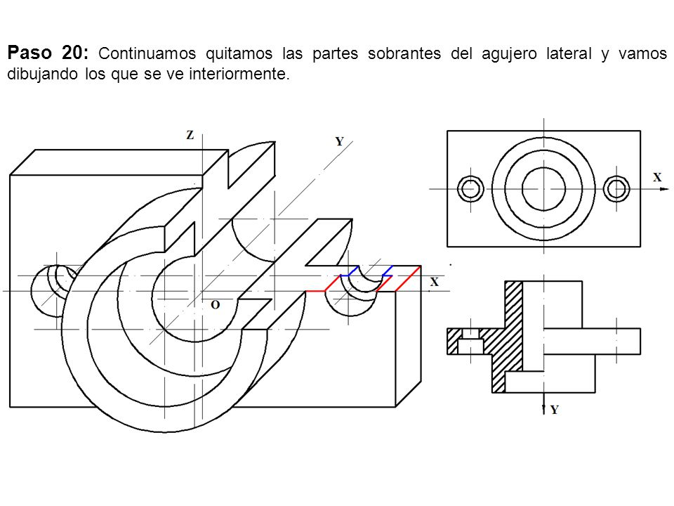 Paso 20: Continuamos quitamos las partes sobrantes del agujero lateral y vamos dibujando los que se ve interiormente.