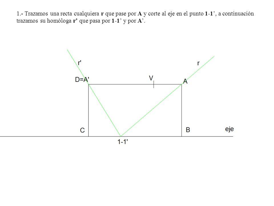 1.- Trazamos una recta cualquiera r que pase por A y corte al eje en el punto 1-1', a continuación trazamos su homóloga r' que pasa por 1-1' y por A'.