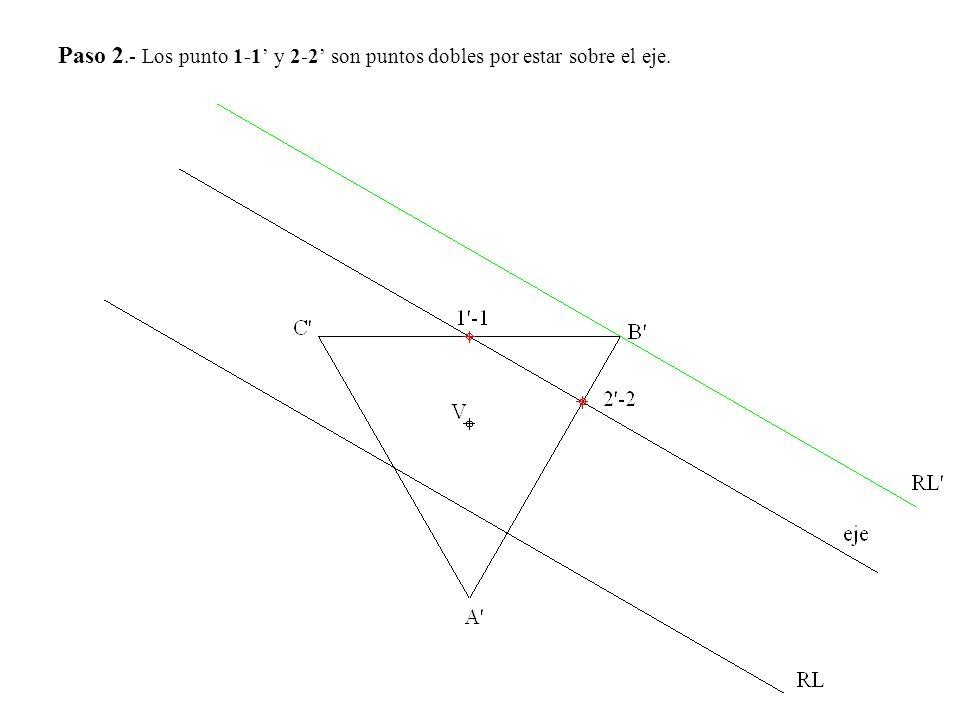 Paso 2.- Los punto 1-1' y 2-2' son puntos dobles por estar sobre el eje.
