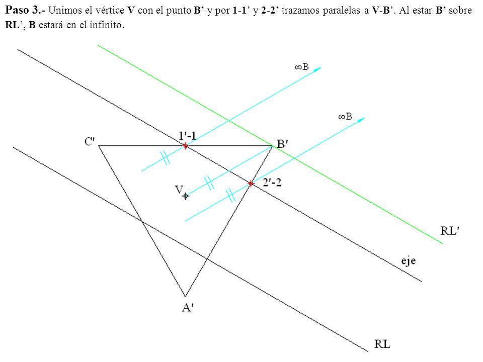 Paso 3.- Unimos el vértice V con el punto B' y por 1-1' y 2-2' trazamos paralelas a V-B'.