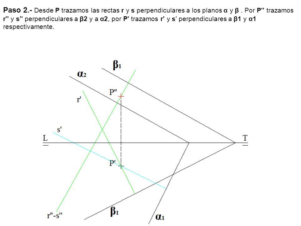 Paso 2.- Desde P trazamos las rectas r y s perpendiculares a los planos α y β .