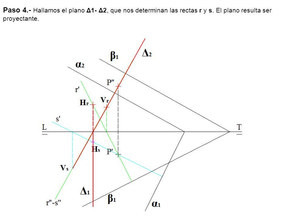 Paso 4.- Hallamos el plano Δ1- Δ2, que nos determinan las rectas r y s.