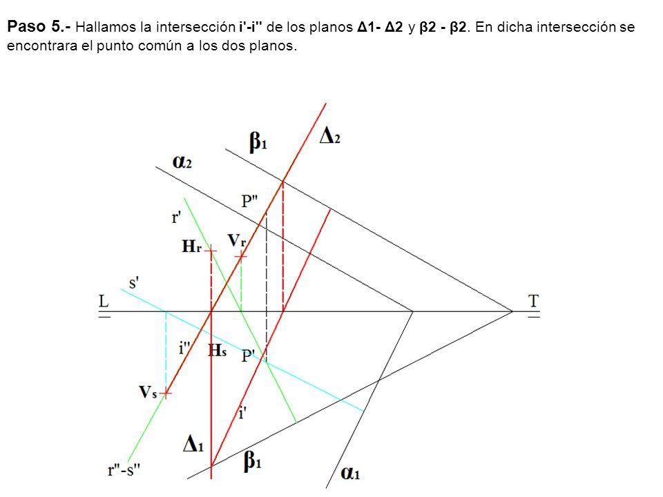 Paso 5.- Hallamos la intersección i -i de los planos Δ1- Δ2 y β2 - β2.
