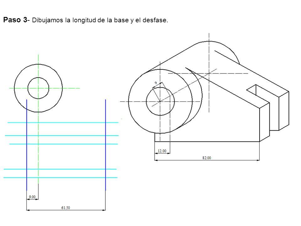 Paso 3- Dibujamos la longitud de la base y el desfase.