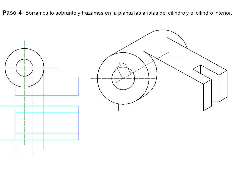 Paso 4- Borramos lo sobrante y trazamos en la planta las aristas del cilindro y el cilindro interior.