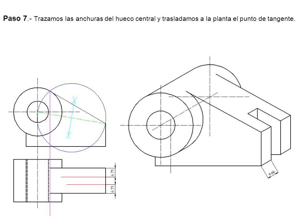 Paso 7.- Trazamos las anchuras del hueco central y trasladamos a la planta el punto de tangente.