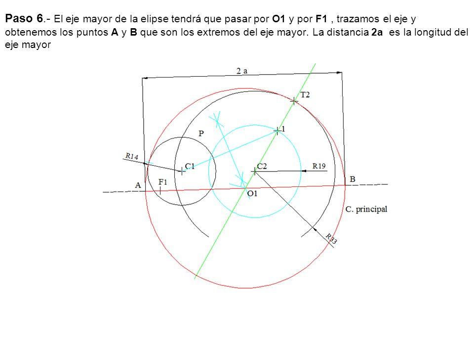 Paso 6.- El eje mayor de la elipse tendrá que pasar por O1 y por F1 , trazamos el eje y obtenemos los puntos A y B que son los extremos del eje mayor.