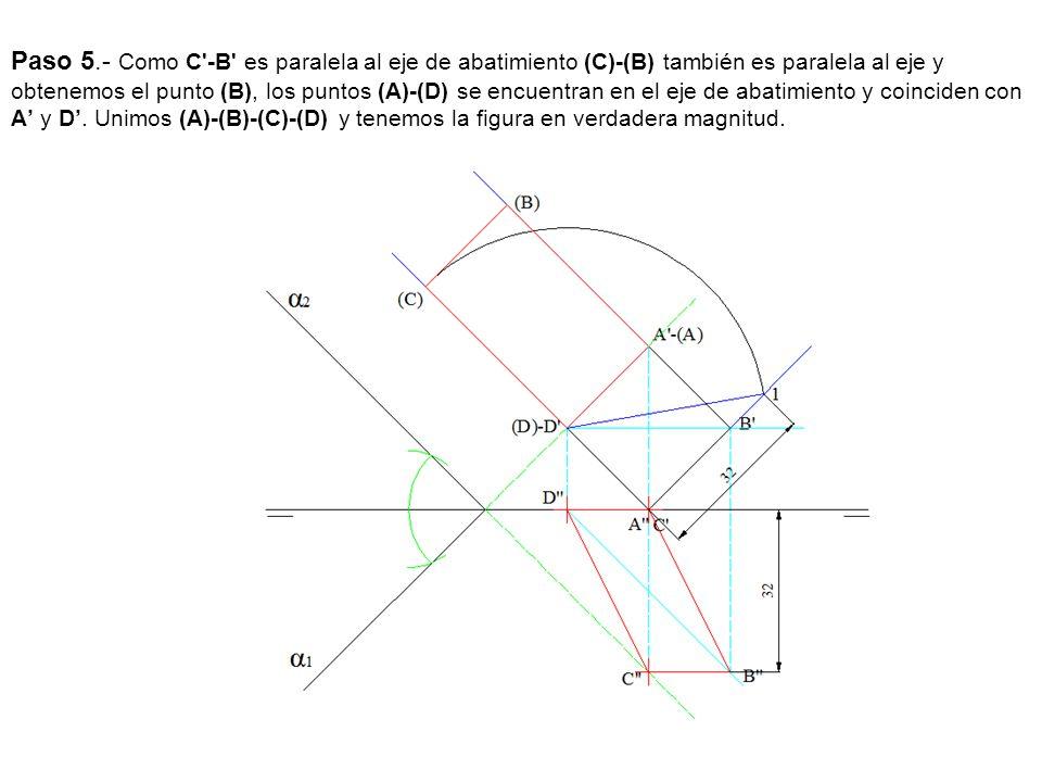 Paso 5.- Como C -B es paralela al eje de abatimiento (C)-(B) también es paralela al eje y obtenemos el punto (B), los puntos (A)-(D) se encuentran en el eje de abatimiento y coinciden con A' y D'.