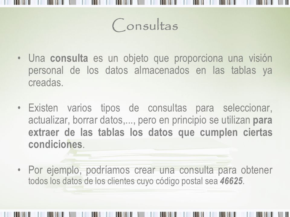 Bases de datos access ppt descargar for Que es un consul