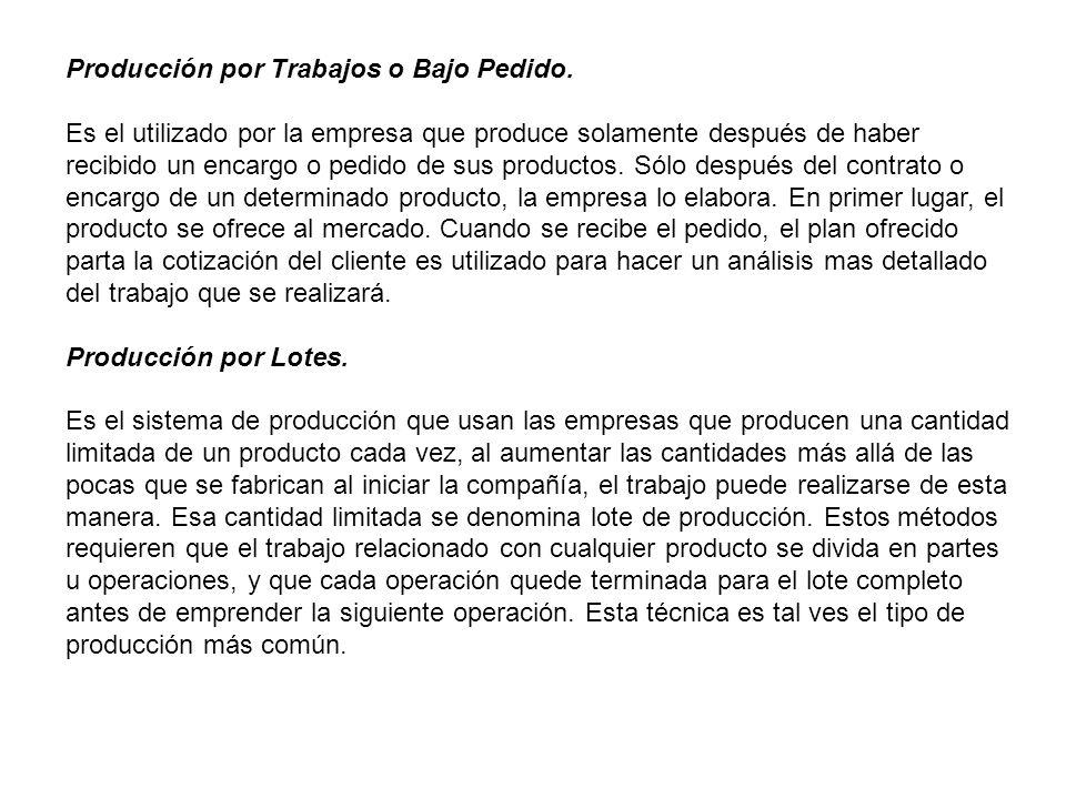 Producción por Trabajos o Bajo Pedido.