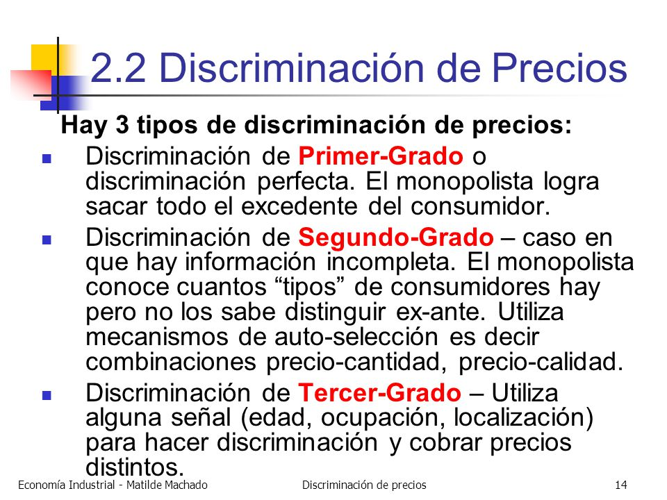 2 2 discriminaci n de precios ppt descargar for Precio de puertas tipo cantina